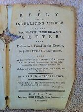 Reply to Interesting Answer, Irish 1788 James Patson, Kirwan, Title Pages Only