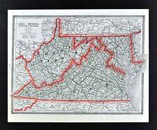 c 1883 George Cram Map Virginia West VA Maryland Delaware Richmond Washington DC