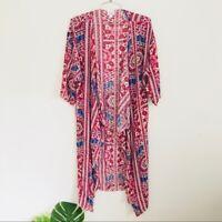 Lularoe hot pink printed shirley boho kimono duster S
