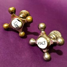 1900 ANTIQUE ARCHITECTURAL BATH ROOM PLUMBING LOT OF 2 FAUCET KNOB  BRASS CHROME