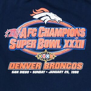 VTG NFL SUPER BOWL 32 1998 DENVER BRONCOS VINTAGE FOOTBALL TEE T SHIRT SIZE L
