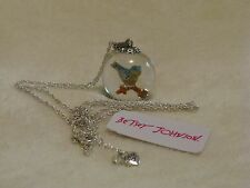 Betsey Johnson 'Bird Bauble' Crystal Ball Globe Pendant Silver Necklace NWT
