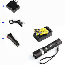 Car Charger+ USB Line + Flashlight Torch+Rechargeable 18650 Battery USA STOCK