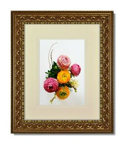 One 8x10 Vintage Ornate Gold Frame, Glass & Warm White Double Mat for 4x6