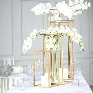 Set of 4 - Matte Gold Wedding Flower Stand - Metal Vase Column Stand - Geometric