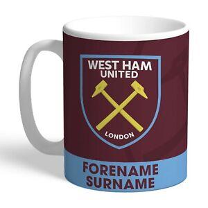 Personalised West Ham Bold Crest Mug Gift Football Club FC Fan Hammers