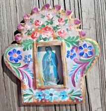 Virgin of Guadalupe Hand Painted Tin Frame Mexican Folk Art Nicho Mexico