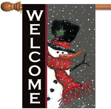 Toland Snowman Welcome 28 x 40 Double Sided Christmas Snow Red Scarf House Flag