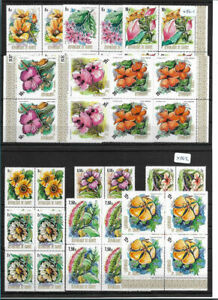 SMT, 1974, GUINEA, Flowers set, Mi nr 688/99 blocks of 4, MNH