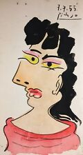 PABLO PICASSO HAND DRAWN, DATED AND SIGNED *ABSTRACT WOMAN * WATERCOLOR
