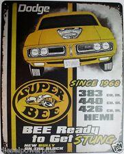 Vintage Replica Tin Metal Sign Dodge Charger Super Bee Mopar motor hemi Chrysler