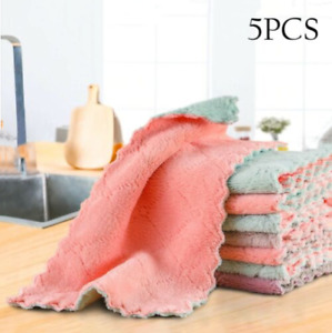 5pcs Super Absorbent Microfiber Kitchen Cloth Dish Cleaning Towel Household
