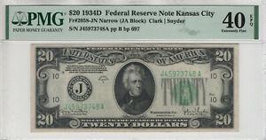 1934 D $20 FEDERAL RESERVE NOTE KANSAS CITY FR.2058-JN NARROW PMG EF XF 40 EPQ