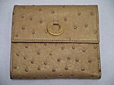 LORO PIANA $1.2K+ muted gold ostrich skin ladies wallet BARELY USED