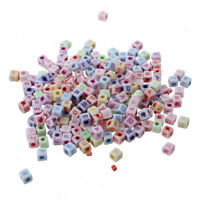 200 Letter Cubes 6 mm Plastic Beads White X3D4