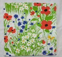 Vintage Tastemaker Field Trip Full Flat Sheet Mod Red Blue Floral Poppy Daisy