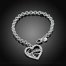 New Silver Plated Guess Heart Link Chain Bracelet Fashion Jewelry Women Bangle