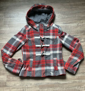 Girls Abercrombie Wool Plaid Pea Coat Jacket Hooded Red & Gray Size Large Warm