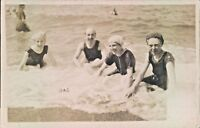 Postcard social history Bathers in the Surf vintage Costume Real Photo  unposted