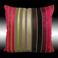 RARE RED LUXURY COLORFUL STRIPES SOFT VELVET THROW PILLOW CASE CUSHION COVER 17""