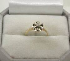1980's Unusual Style 9ct Gold Seven Stone Diamond Cluster Ring