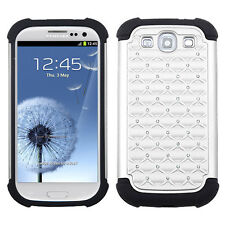 Samsung Galaxy S III S3 HYBRID IMPACT Dazzling Diamond Case Phone Cover White