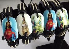 Wholesale 12 pcs Jesus Leather Bracelets Jewelry job lots Mix