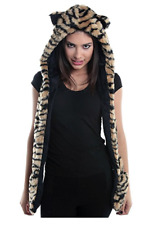 Faux Fur Animal Ski Hats Winter Snow Hoods Tiger Mittens Unisex Gloves