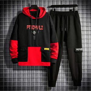 Mens Jogger Tracksuit 2 Piece Casual Pants hoodie Sweatsuit Sweatshirt Set