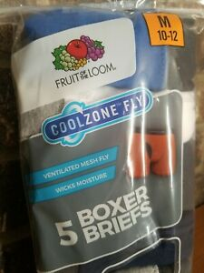 Fruit Of The Loom CoolZone Fly 5 Boys Boxer Briefs Size M 10-12 NEW