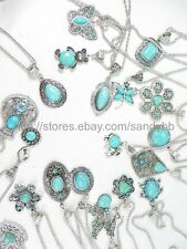 US Seller - 10 pieces wholesale turquoise pendant necklaces gemstone jewelry lot