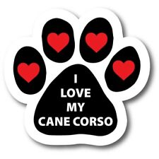 """I Love My Cane Corso Pawprint Car Magnet 5"""" Paw Print Auto Truck Decal Magnet"""
