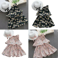 Toddler Kids Baby Girls Floral Sleeveless Dress Summer Princess Skirt+Hat Outfit