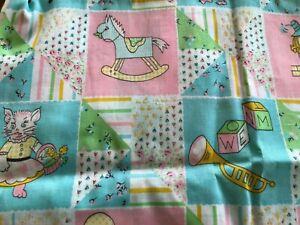 VTG Cotton Fabric Children's Juvenile Novelty Baby Animals ~HUMPTY DUMPTY~2 PCS