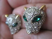 VINTAGE GOLD TONE GREEN EYES RHINESTONE ,PUMA, OR PANTHER EARRINGS-734
