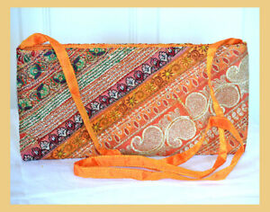 Orange Color Hand Embroidered Borders Shoulder Cross Body Bag Silk From India