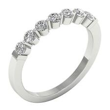 Wedding Ring 14K White Gold Size 4-7 Vvs1 E 0.86 Ct Natural Diamond Shared Prong