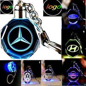 Car Logo Keychain Crystal Light Changing Car keyring Color LED Light