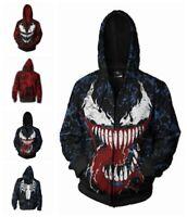 Men's Cotton Hooded Sweatshirt Sweater Coat Marvel Anime Character Print Venom