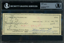 Vince Lombardi Autographed Signed 3x8 Check Green Bay Packers Beckett 11077775