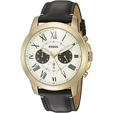 New Fossil Men FS5272 Round Chronograph White Dial Leather Black Band Watch