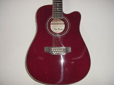 New 12 String Full Size Acoustic Electric Cutaway Guitar with Gig Bag Burgundy