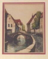 Bruges Belgium 'Along The Quai' Original Etching Signed Brunet