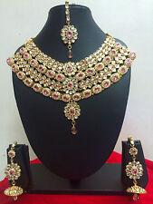 Indian Bollywood Style Diamante Kundan Pearl Gold Tone Pink Bridal Jewelry Set