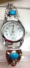 Ladies Turquoise Sterling Silver Watch tip turquoise coral watch new batt Navajo