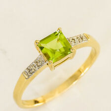 NATURAL PERIDOT RING GENUINE DIAMONDS 9K 375 9CT GOLD SIZE N COMES IN A BOX NEW
