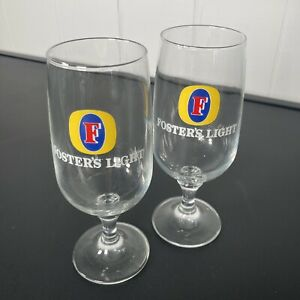 FOSTERS Light Long Stem Beer Glasses PAIR