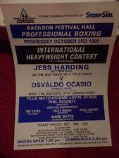 POSTER ORIGINALE Boxe/Flyer 12 x 8-Jess Harding V OSVALDO ocasio 1990