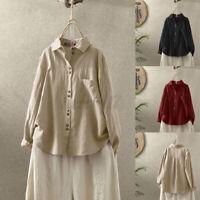 ZANZEA UK Womens Long Sleeve Collared Button Down Shirts Cotton Linen Top Blouse