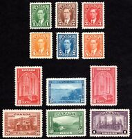 Canada KGVI Mufti & 1938 Pictorial Issues - Scott 231-236 & 241-245 - MH VF